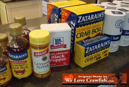 Start gathering up the ingredients: Zatarain's Shrimp & Crab Boil, cayenne pepper, black pepper, salt, and the rest of the makings for the perfect crawfish boil!