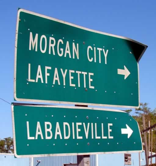 Louisiana highway sign near Morgan City, Lafayette and Labadieville