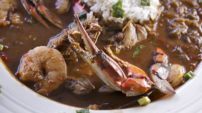 Louisiana seafood gumbo, with crawfish, shrimp, crab and okra